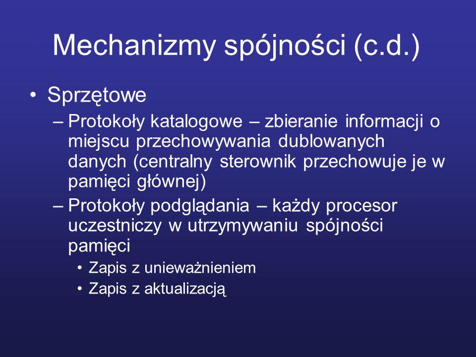 Mechanizmy spójności (c.d.) Sprzętowe –Protokoły katalogowe – zbieranie informacji o miejscu przechowywania dublowanych danych (centralny sterownik pr