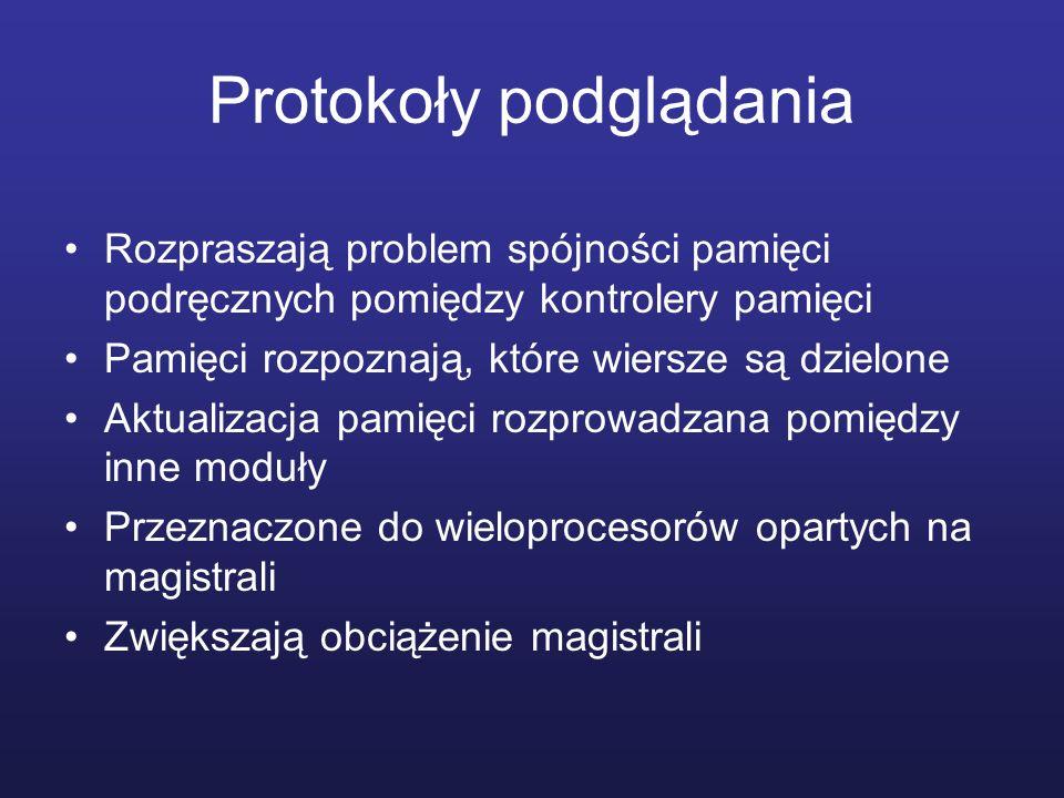 Protokoły podglądania Rozpraszają problem spójności pamięci podręcznych pomiędzy kontrolery pamięci Pamięci rozpoznają, które wiersze są dzielone Aktu