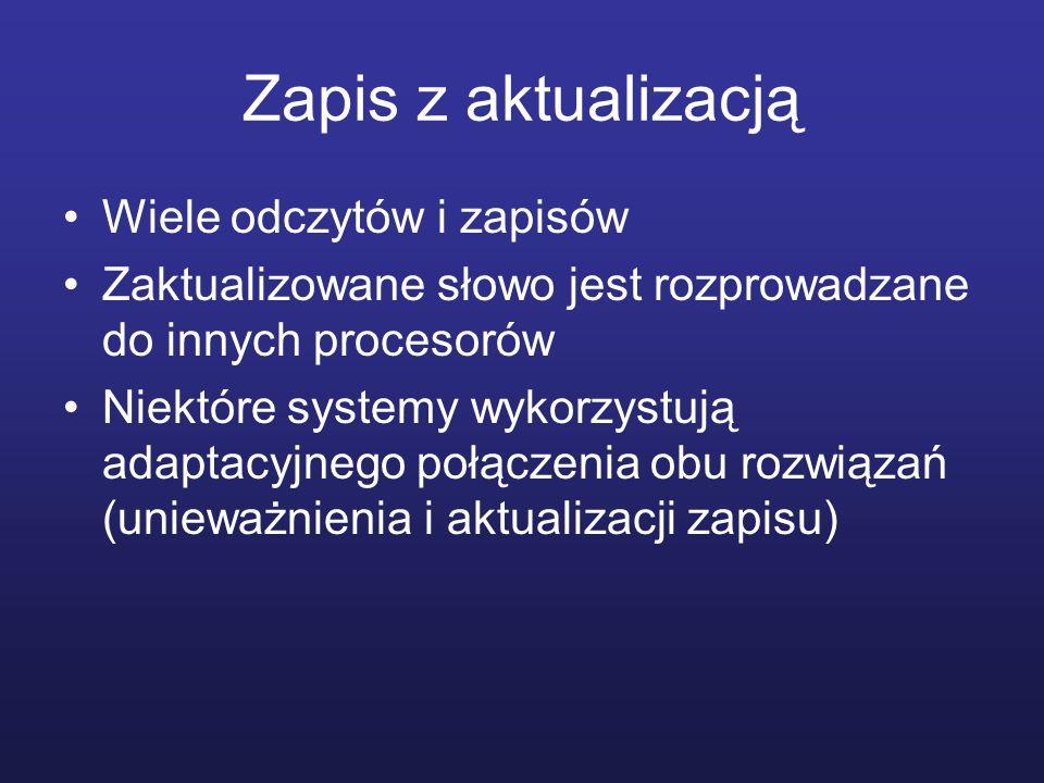 Zapis z aktualizacją Wiele odczytów i zapisów Zaktualizowane słowo jest rozprowadzane do innych procesorów Niektóre systemy wykorzystują adaptacyjnego
