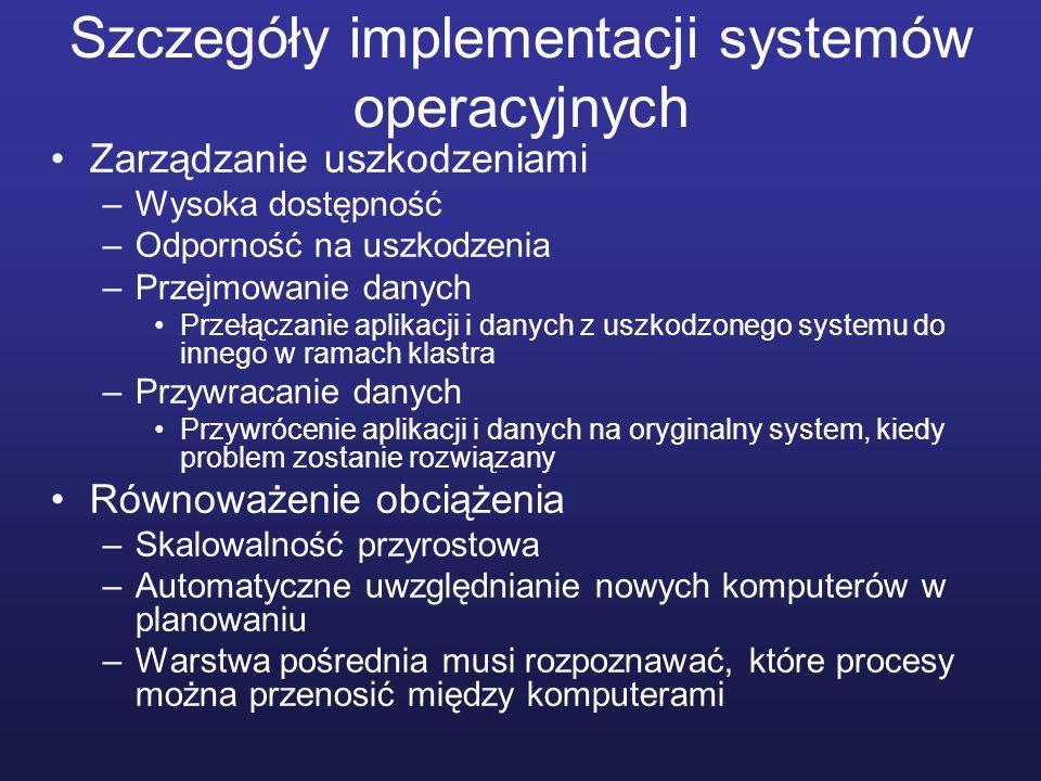 Szczegóły implementacji systemów operacyjnych Zarządzanie uszkodzeniami –Wysoka dostępność –Odporność na uszkodzenia –Przejmowanie danych Przełączanie