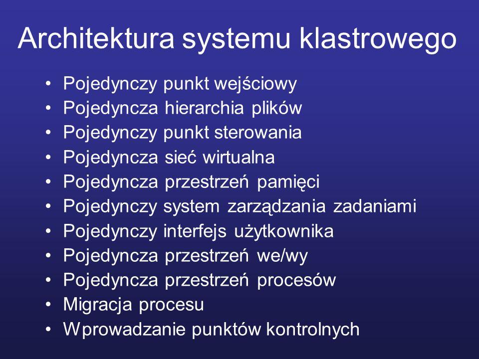 Architektura systemu klastrowego Pojedynczy punkt wejściowy Pojedyncza hierarchia plików Pojedynczy punkt sterowania Pojedyncza sieć wirtualna Pojedyn