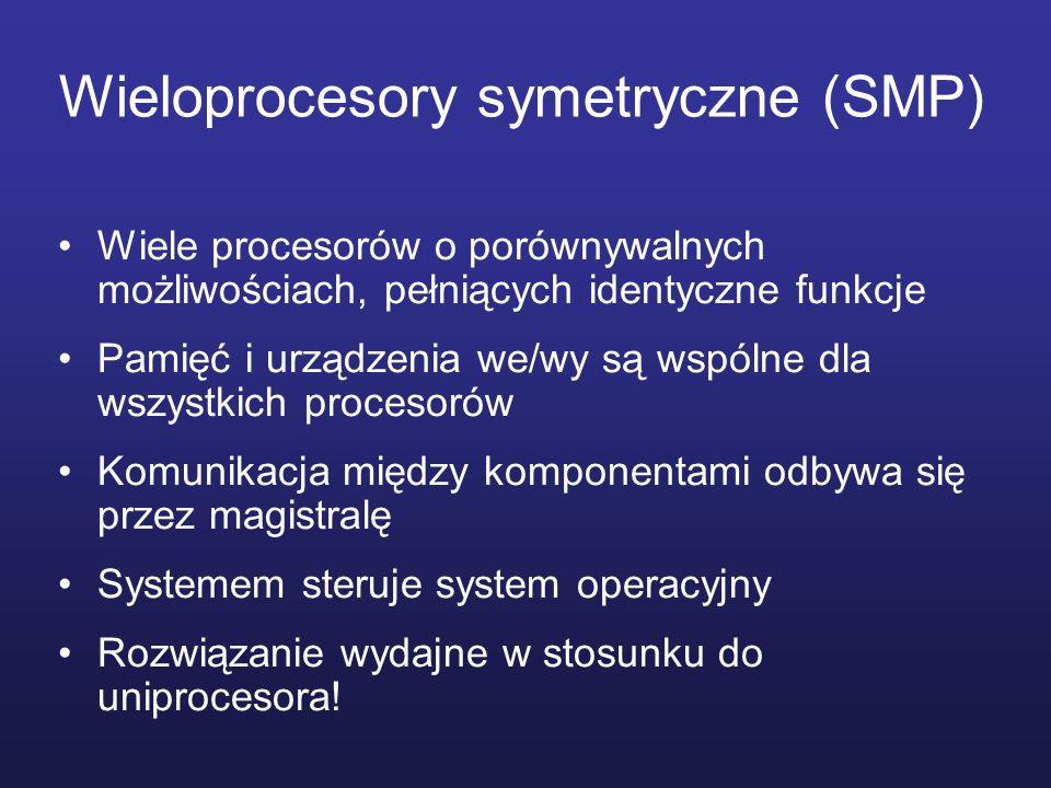 Wieloprocesory symetryczne (SMP) Wiele procesorów o porównywalnych możliwościach, pełniących identyczne funkcje Pamięć i urządzenia we/wy są wspólne d
