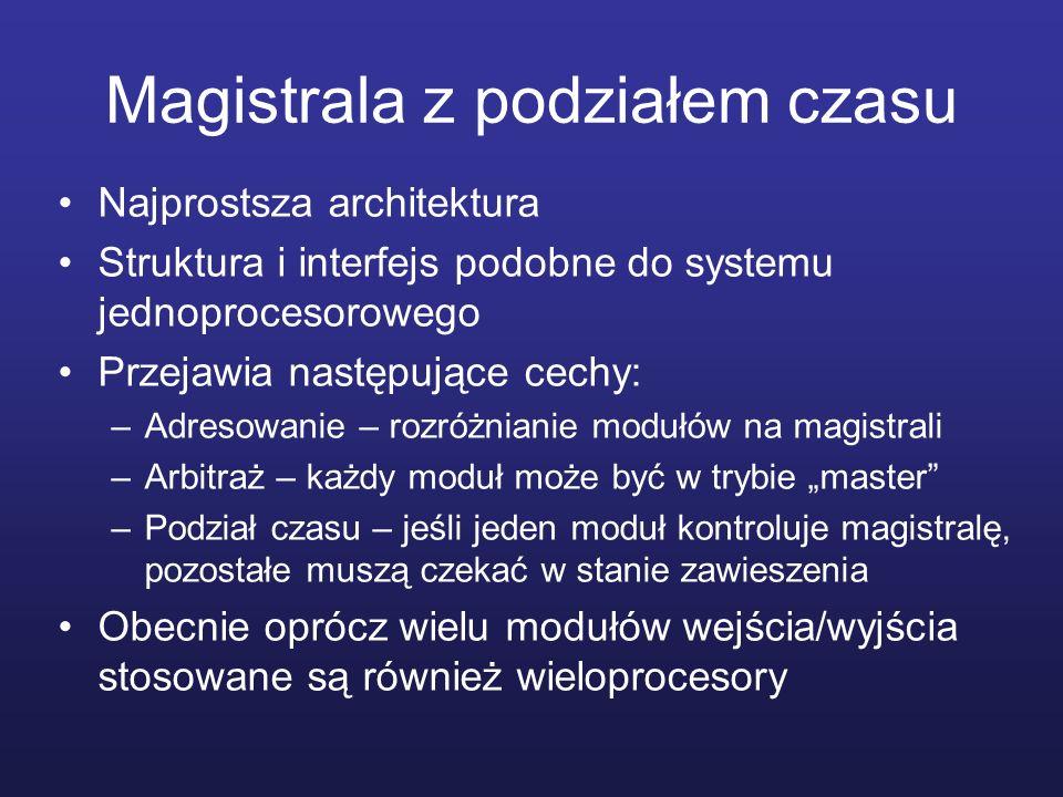 Magistrala z podziałem czasu Najprostsza architektura Struktura i interfejs podobne do systemu jednoprocesorowego Przejawia następujące cechy: –Adreso