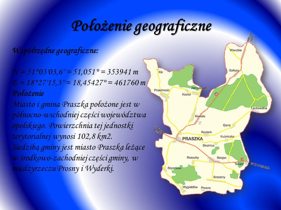 Położenie geograficzne Współrzędne geograficzne: N = 51°03 03,6 = 51,051° = 353941 m E = 18°27 15,3 = 18,45427° = 461760 m Położenie Miasto i gmina Praszka położone jest w północno-wschodniej części województwa opolskiego.
