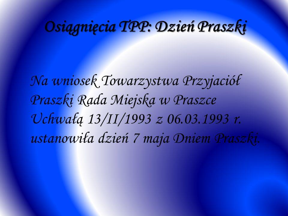 Osiągnięcia TPP: Dzień Praszki Na wniosek Towarzystwa Przyjaciół Praszki Rada Miejska w Praszce Uchwałą 13/II/1993 z 06.03.1993 r. ustanowiła dzień 7