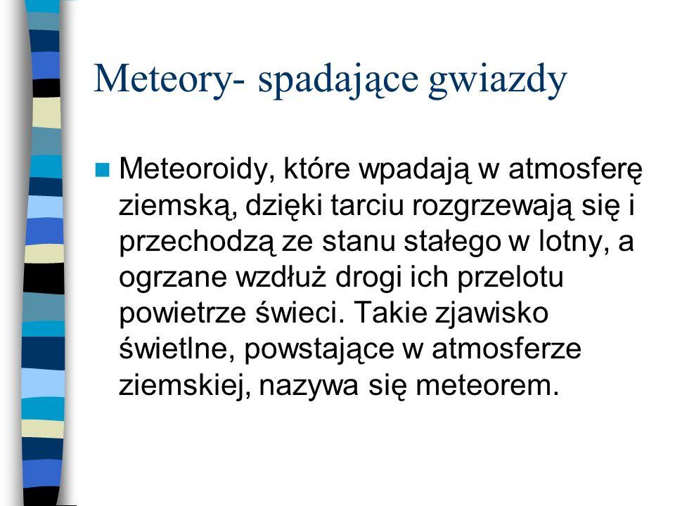 Meteory- spadające gwiazdy Meteoroidy, które wpadają w atmosferę ziemską, dzięki tarciu rozgrzewają się i przechodzą ze stanu stałego w lotny, a ogrza