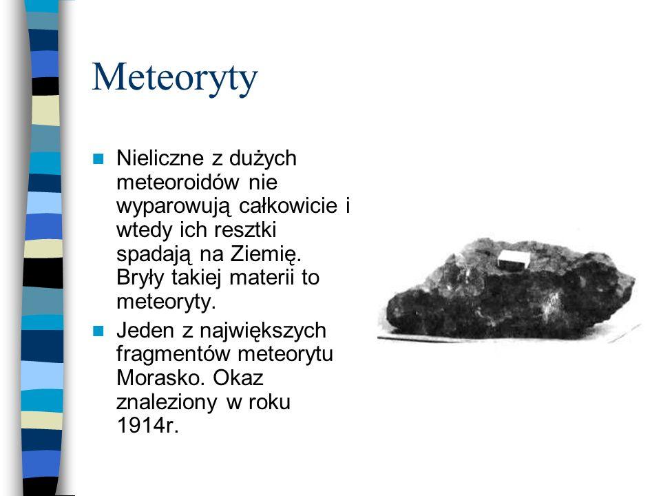Meteoryty Nieliczne z dużych meteoroidów nie wyparowują całkowicie i wtedy ich resztki spadają na Ziemię. Bryły takiej materii to meteoryty. Jeden z n