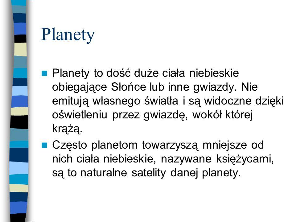 Planety Planety to dość duże ciała niebieskie obiegające Słońce lub inne gwiazdy. Nie emitują własnego światła i są widoczne dzięki oświetleniu przez