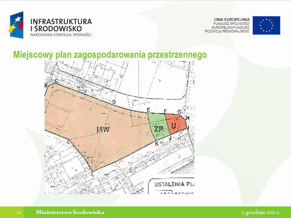 UNIA EUROPEJSKA FUNDUSZ SPÓJNOŚCI EUROPEJSKI FUNDUSZ ROZWOJU REGIONALNEGO Miejscowy plan zagospodarowania przestrzennego 10 2 grudnia 2011 r.Ministers