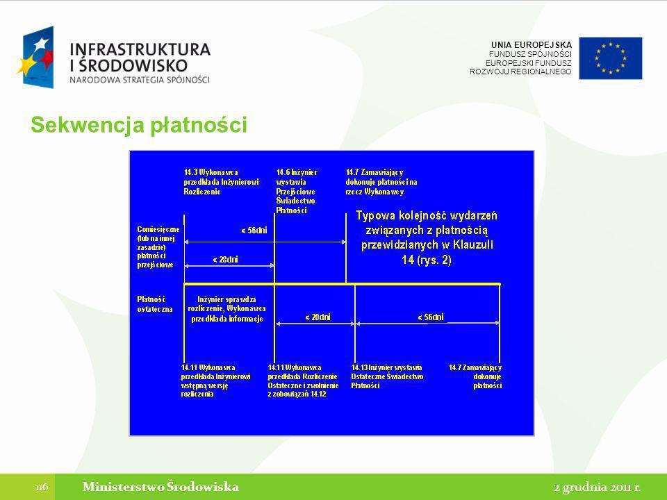 UNIA EUROPEJSKA FUNDUSZ SPÓJNOŚCI EUROPEJSKI FUNDUSZ ROZWOJU REGIONALNEGO Sekwencja płatności 116 2 grudnia 2011 r.Ministerstwo Środowiska