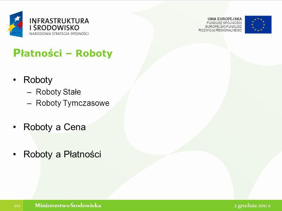 UNIA EUROPEJSKA FUNDUSZ SPÓJNOŚCI EUROPEJSKI FUNDUSZ ROZWOJU REGIONALNEGO P łatności – Roboty Roboty –Roboty Stałe –Roboty Tymczasowe Roboty a Cena Ro