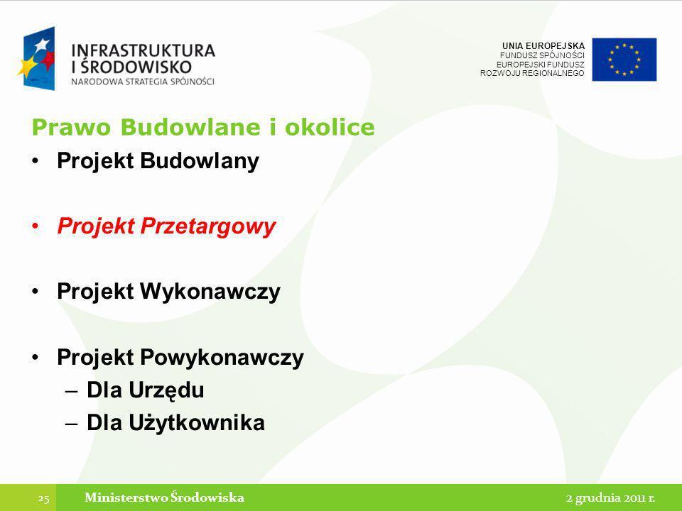 UNIA EUROPEJSKA FUNDUSZ SPÓJNOŚCI EUROPEJSKI FUNDUSZ ROZWOJU REGIONALNEGO Prawo Budowlane i okolice Projekt Budowlany Projekt Przetargowy Projekt Wyko