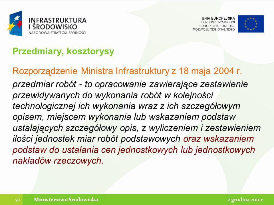 UNIA EUROPEJSKA FUNDUSZ SPÓJNOŚCI EUROPEJSKI FUNDUSZ ROZWOJU REGIONALNEGO Przedmiary, kosztorysy Rozporządzenie Ministra Infrastruktury z 18 maja 2004