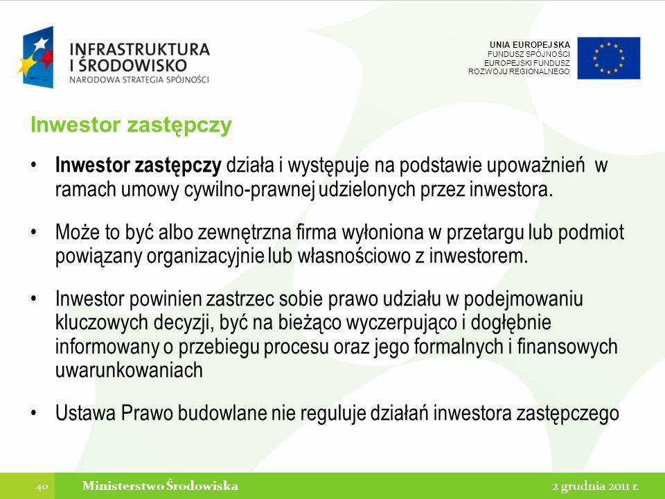 UNIA EUROPEJSKA FUNDUSZ SPÓJNOŚCI EUROPEJSKI FUNDUSZ ROZWOJU REGIONALNEGO Inwestor zastępczy Inwestor zastępczy działa i występuje na podstawie upoważ