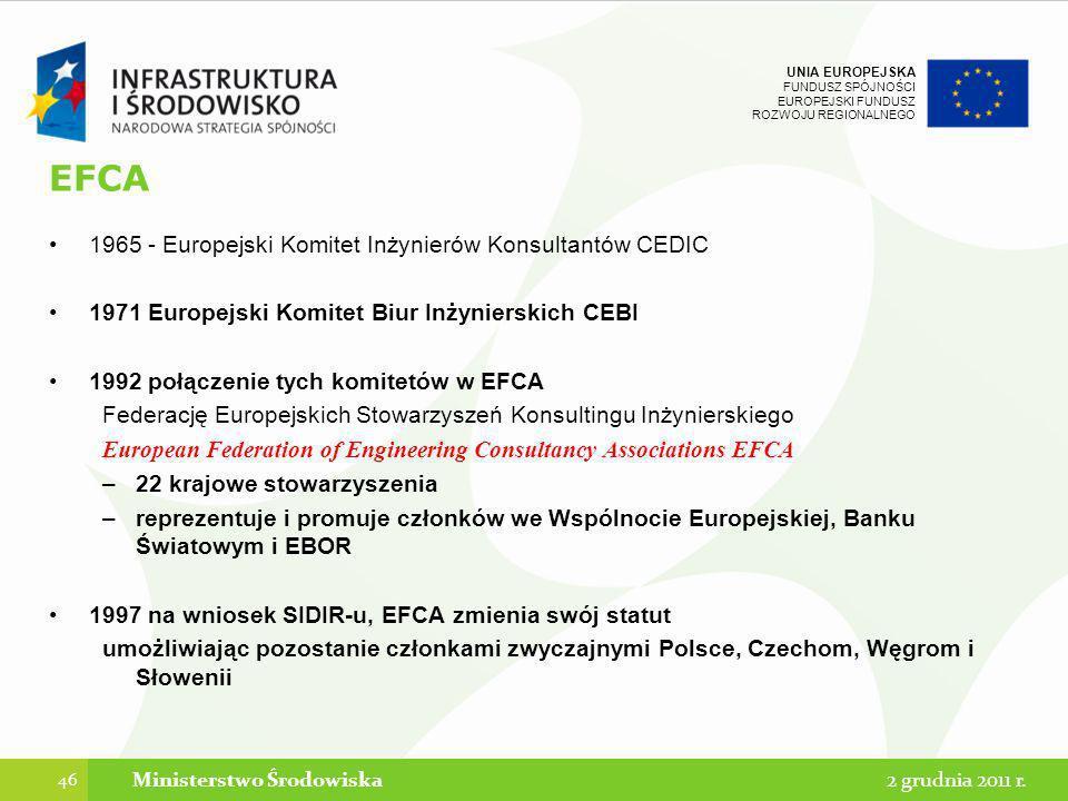 UNIA EUROPEJSKA FUNDUSZ SPÓJNOŚCI EUROPEJSKI FUNDUSZ ROZWOJU REGIONALNEGO EFCA 1965 - Europejski Komitet Inżynierów Konsultantów CEDIC 1971 Europejski