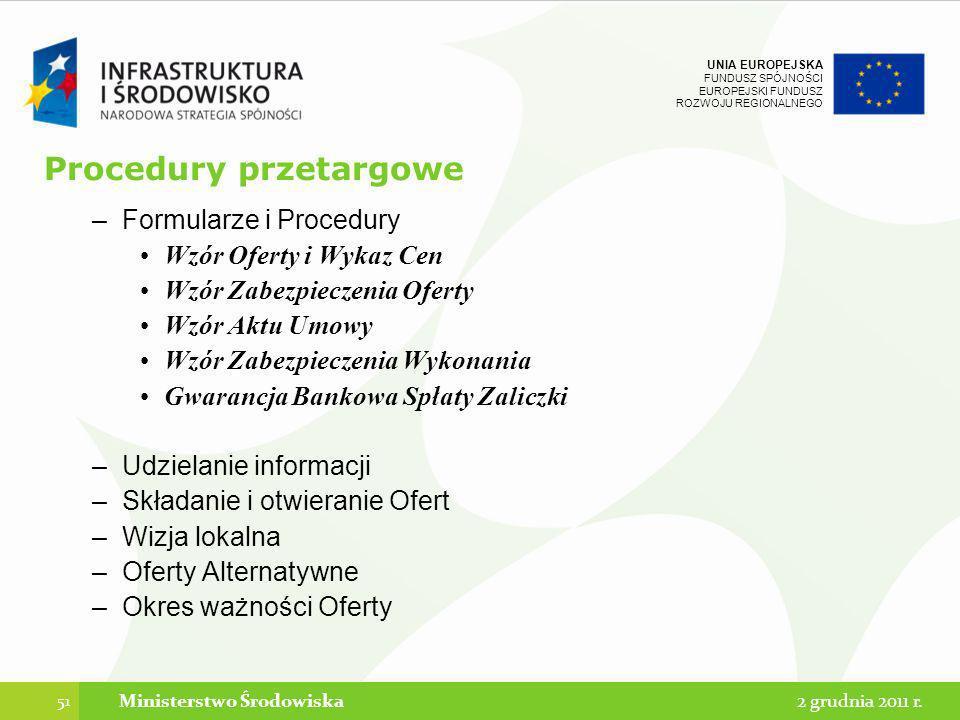 UNIA EUROPEJSKA FUNDUSZ SPÓJNOŚCI EUROPEJSKI FUNDUSZ ROZWOJU REGIONALNEGO Procedury przetargowe –Formularze i Procedury Wzór Oferty i Wykaz Cen Wzór Z