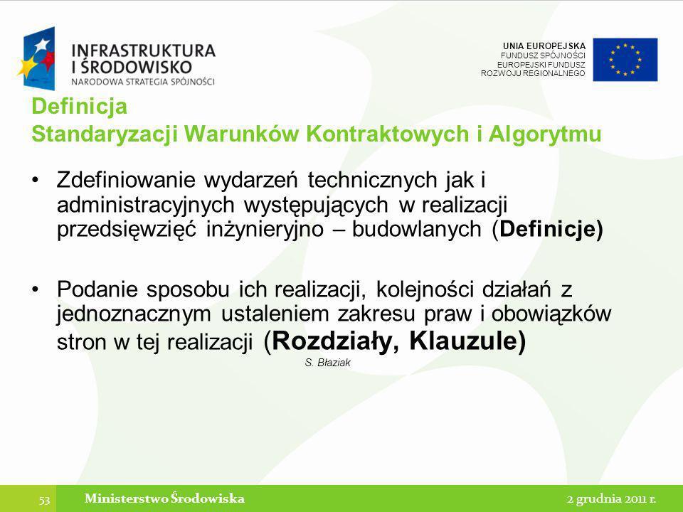 UNIA EUROPEJSKA FUNDUSZ SPÓJNOŚCI EUROPEJSKI FUNDUSZ ROZWOJU REGIONALNEGO Definicja Standaryzacji Warunków Kontraktowych i Algorytmu Zdefiniowanie wyd