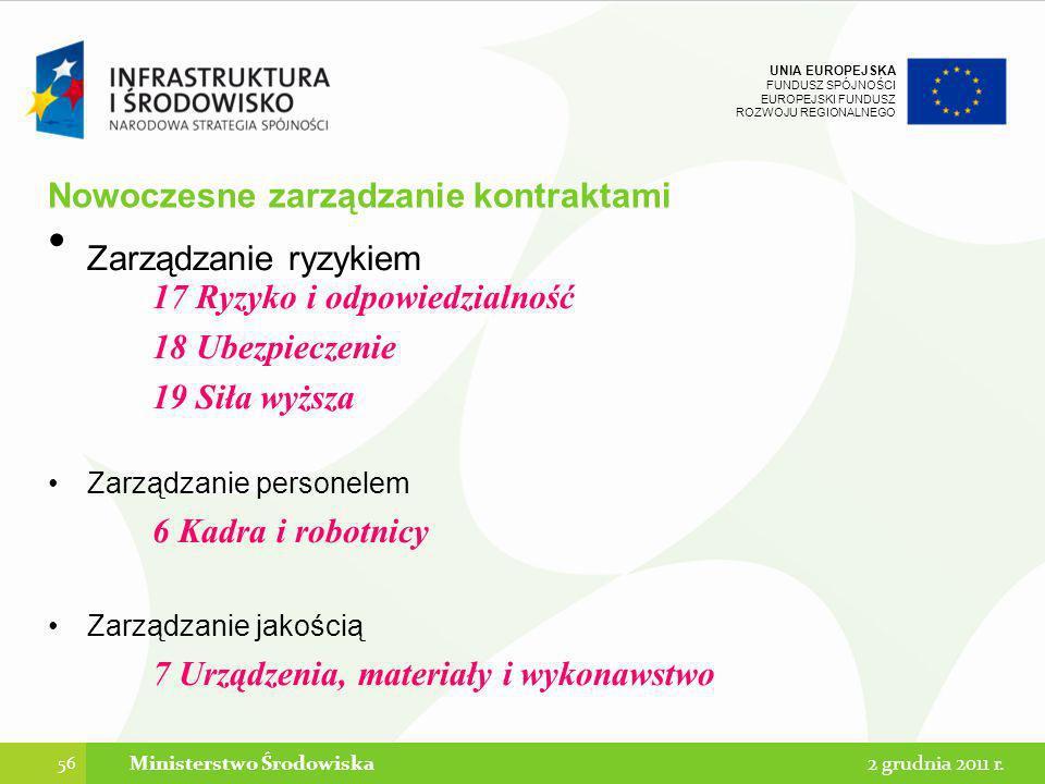 UNIA EUROPEJSKA FUNDUSZ SPÓJNOŚCI EUROPEJSKI FUNDUSZ ROZWOJU REGIONALNEGO Nowoczesne zarządzanie kontraktami Zarządzanie ryzykiem 17 Ryzyko i odpowied