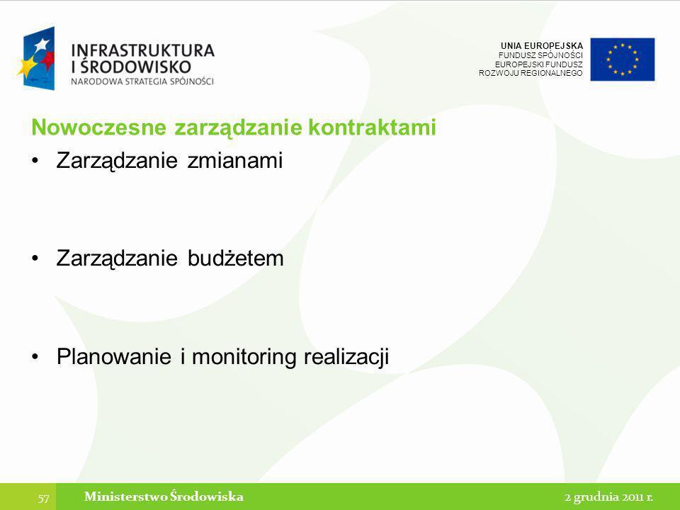 UNIA EUROPEJSKA FUNDUSZ SPÓJNOŚCI EUROPEJSKI FUNDUSZ ROZWOJU REGIONALNEGO Nowoczesne zarządzanie kontraktami Zarządzanie zmianami Zarządzanie budżetem
