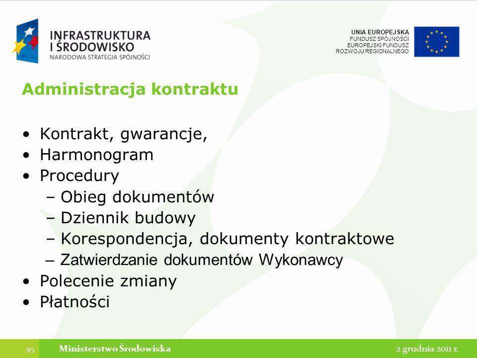 UNIA EUROPEJSKA FUNDUSZ SPÓJNOŚCI EUROPEJSKI FUNDUSZ ROZWOJU REGIONALNEGO Administracja kontraktu Kontrakt, gwarancje, Harmonogram Procedury –Obieg do