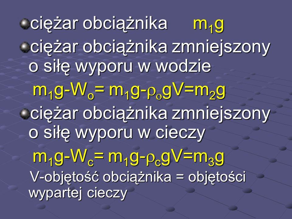 ciężar obciążnika m 1 g ciężar obciążnika zmniejszony o siłę wyporu w wodzie m 1 g-W o = m 1 g- gV=m 2 g m 1 g-W o = m 1 g- gV=m 2 g ciężar obciążnika