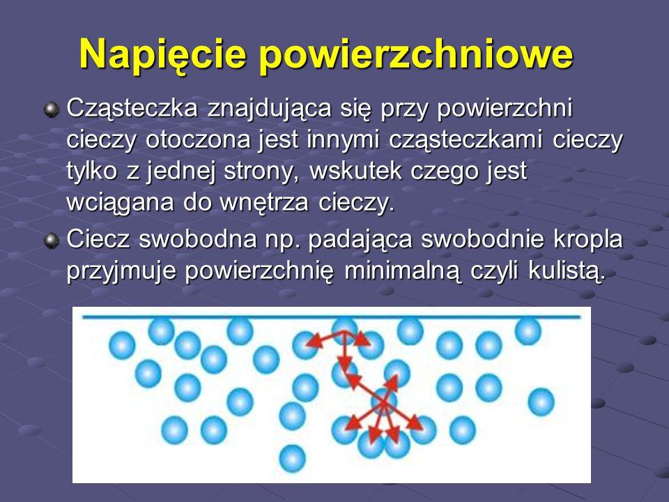 Napięcie powierzchniowe Cząsteczka znajdująca się przy powierzchni cieczy otoczona jest innymi cząsteczkami cieczy tylko z jednej strony, wskutek czeg