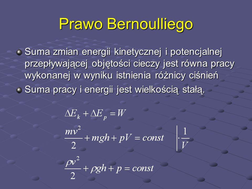 Prawo Bernoulliego Suma zmian energii kinetycznej i potencjalnej przepływającej objętości cieczy jest równa pracy wykonanej w wyniku istnienia różnicy