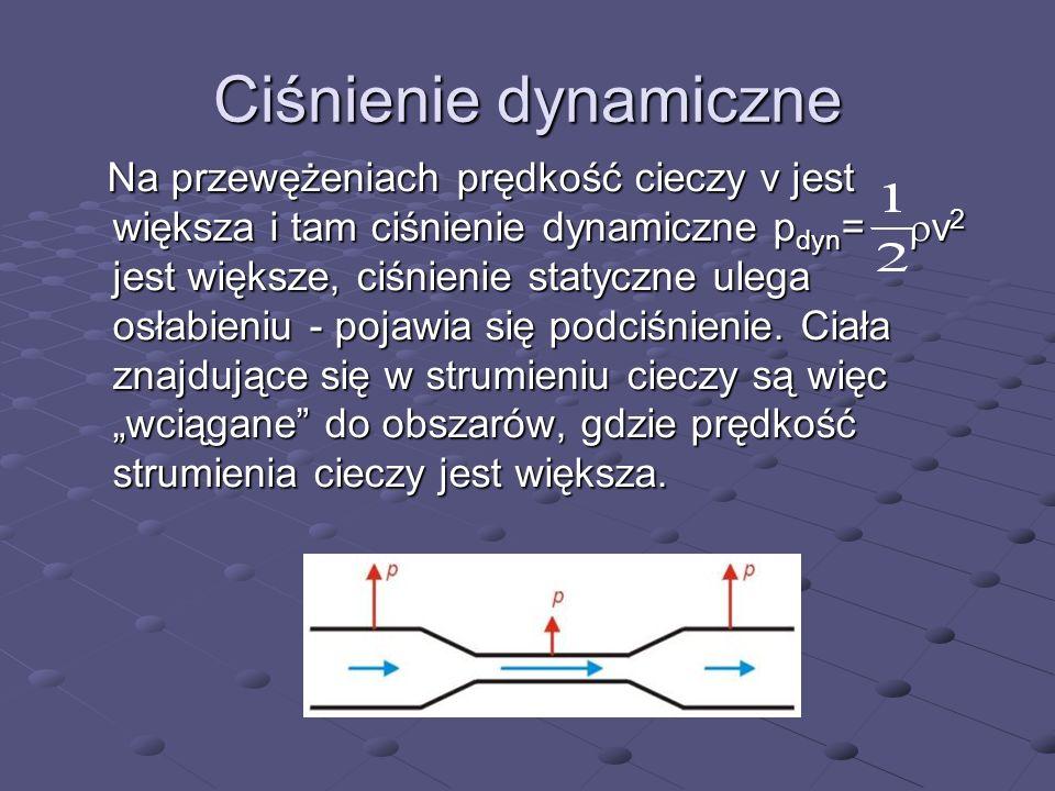 Ciśnienie dynamiczne Na przewężeniach prędkość cieczy v jest większa i tam ciśnienie dynamiczne p dyn = v 2 jest większe, ciśnienie statyczne ulega os