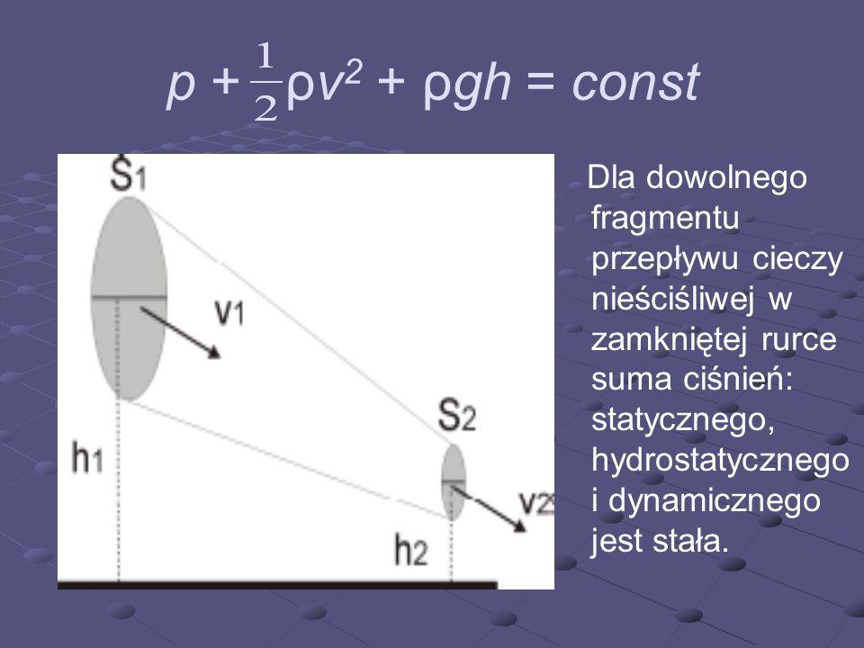 p + ρv 2 + ρgh = const Dla dowolnego fragmentu przepływu cieczy nieściśliwej w zamkniętej rurce suma ciśnień: statycznego, hydrostatycznego i dynamicz