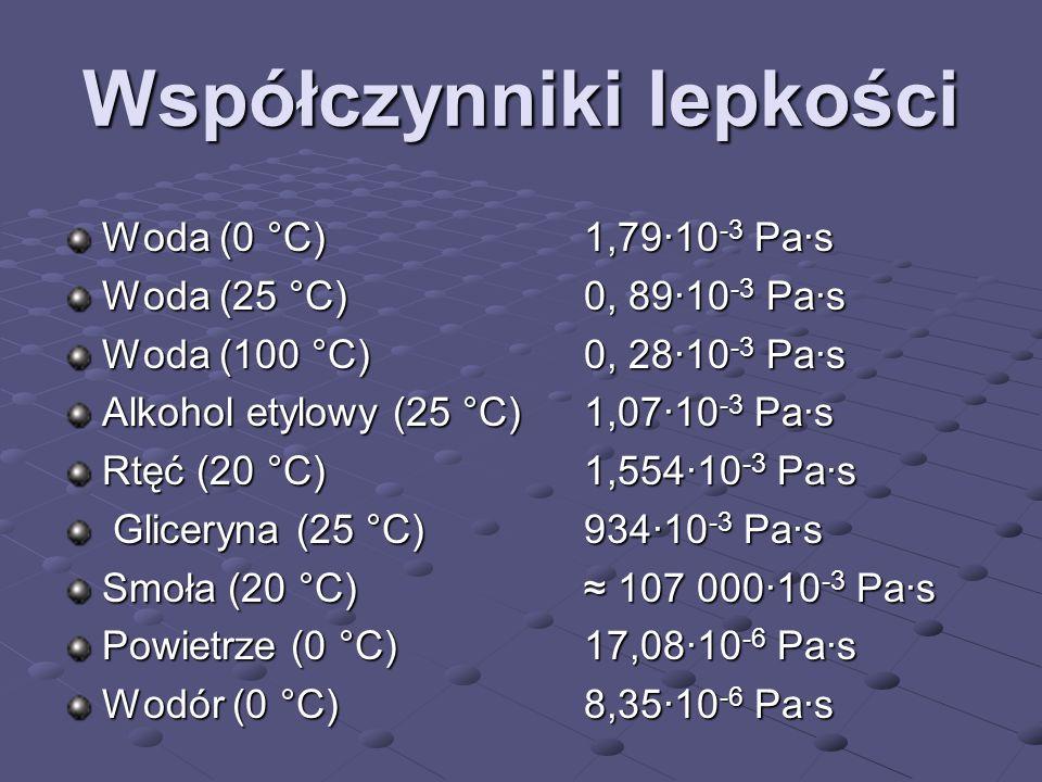 Współczynniki lepkości Woda (0 °C) 1,79·10 -3 Pa·s Woda (25 °C) 0, 89·10 -3 Pa·s Woda (100 °C) 0, 28·10 -3 Pa·s Alkohol etylowy (25 °C) 1,07·10 -3 Pa·