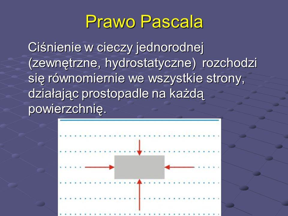 Prawo Pascala Ciśnienie w cieczy jednorodnej (zewnętrzne, hydrostatyczne) rozchodzi się równomiernie we wszystkie strony, działając prostopadle na każ