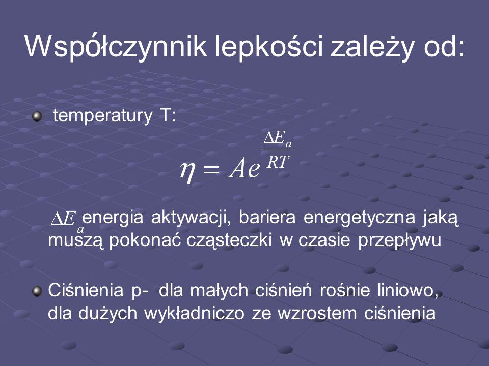 Wsp ó łczynnik lepkości zależy od: temperatury T: energia aktywacji, bariera energetyczna jaką muszą pokonać cząsteczki w czasie przepływu Ciśnienia p