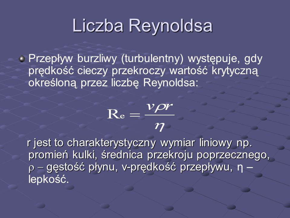Liczba Reynoldsa Przepływ burzliwy (turbulentny) występuje, gdy prędkość cieczy przekroczy wartość krytyczną określoną przez liczbę Reynoldsa: r jest
