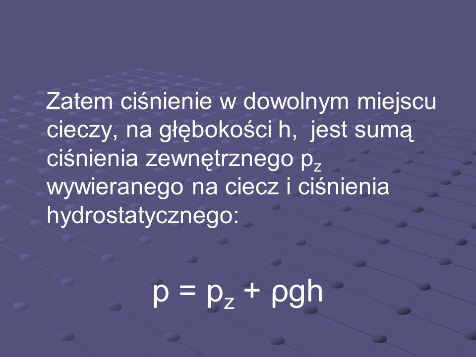 Zatem ciśnienie w dowolnym miejscu cieczy, na głębokości h, jest sumą ciśnienia zewnętrznego p z wywieranego na ciecz i ciśnienia hydrostatycznego: p