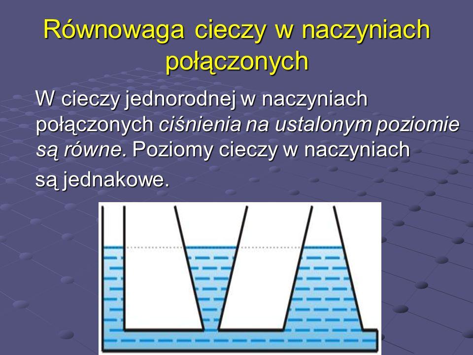 Równowaga cieczy w naczyniach połączonych W cieczy jednorodnej w naczyniach połączonych ciśnienia na ustalonym poziomie są równe. Poziomy cieczy w nac