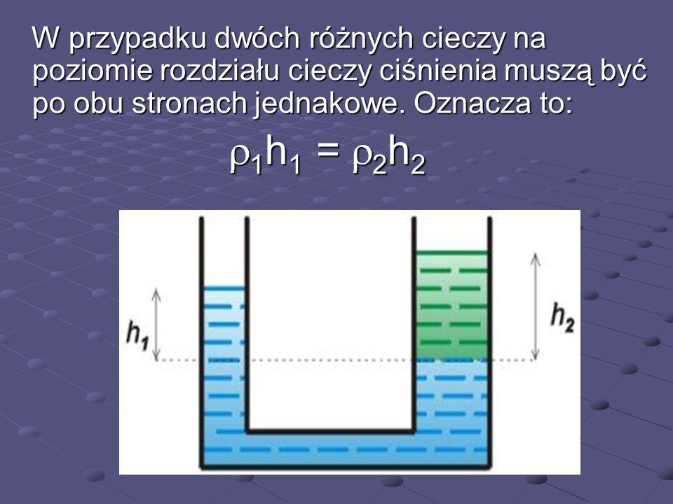 Rurki Harryego Wyznaczanie gęstości cieczy Wyznaczanie gęstości cieczy P atm = p o + c g h c P atm = p o + w g h w c h c = w h w c h c = w h w gęstość badanej cieczy c = w h w /h c c = w h w /h c