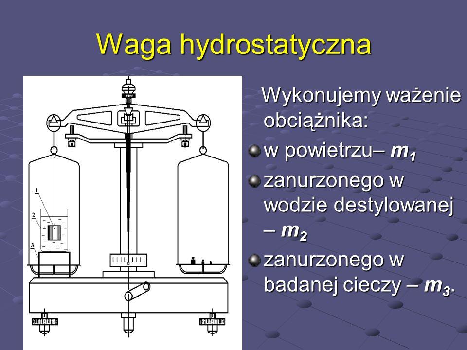 ciężar obciążnika m 1 g ciężar obciążnika zmniejszony o siłę wyporu w wodzie m 1 g-W o = m 1 g- gV=m 2 g m 1 g-W o = m 1 g- gV=m 2 g ciężar obciążnika zmniejszony o siłę wyporu w cieczy m 1 g-W c = m 1 g- c gV=m 3 g m 1 g-W c = m 1 g- c gV=m 3 g V-objętość obciążnika = objętości wypartej cieczy V-objętość obciążnika = objętości wypartej cieczy