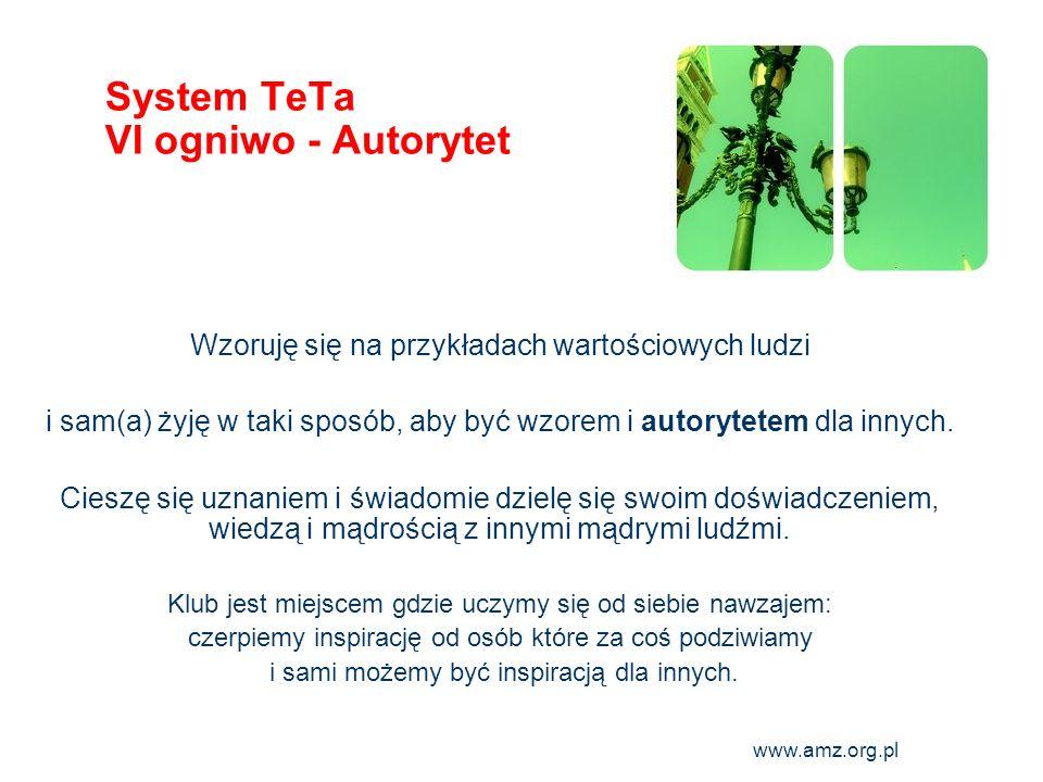 www.amz.org.pl 10 System TeTa VI ogniwo - Autorytet Wzoruję się na przykładach wartościowych ludzi i sam(a) żyję w taki sposób, aby być wzorem i autor