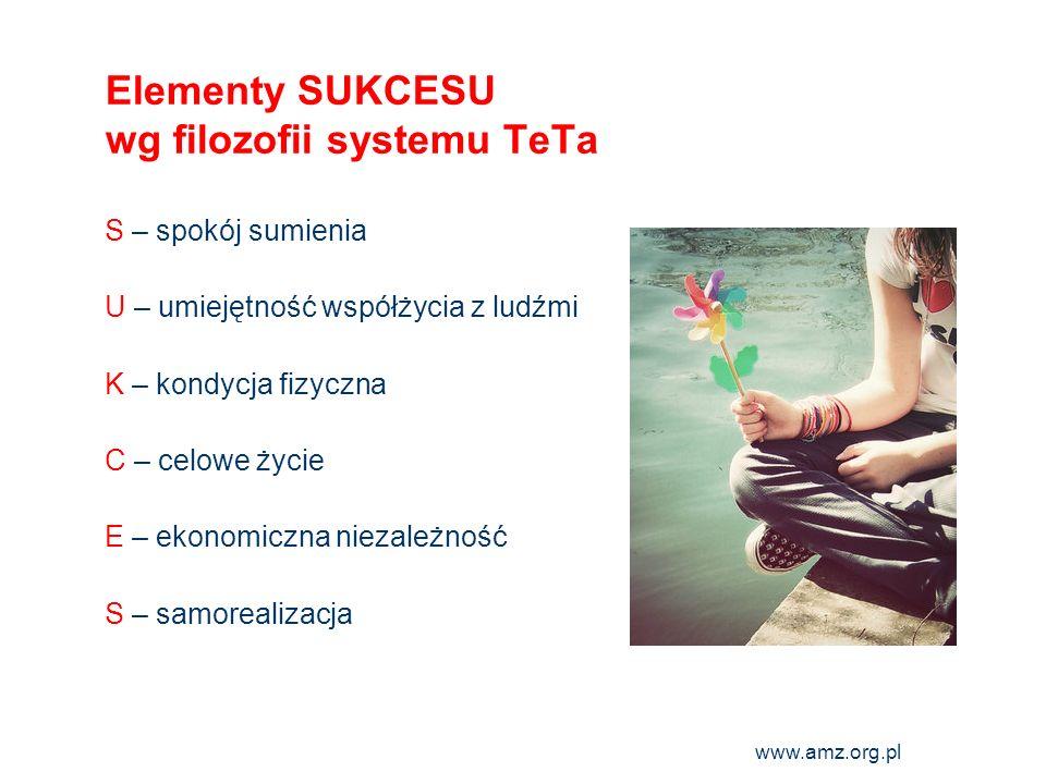 www.amz.org.pl 12 Elementy SUKCESU wg filozofii systemu TeTa S – spokój sumienia U – umiejętność współżycia z ludźmi K – kondycja fizyczna C – celowe