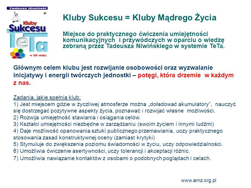 www.amz.org.pl 2 Kluby Sukcesu = Kluby Mądrego Życia Miejsce do praktycznego ćwiczenia umiejętności komunikacyjnych i przywódczych w oparciu o wiedzę
