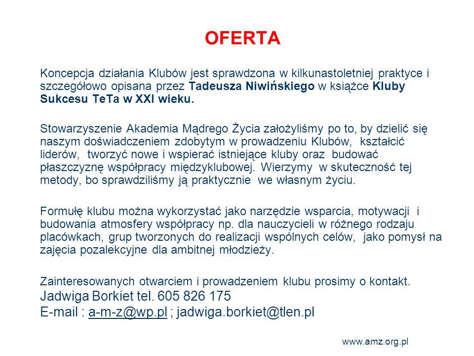 www.amz.org.pl 28 OFERTA Koncepcja działania Klubów jest sprawdzona w kilkunastoletniej praktyce i szczegółowo opisana przez Tadeusza Niwińskiego w ks