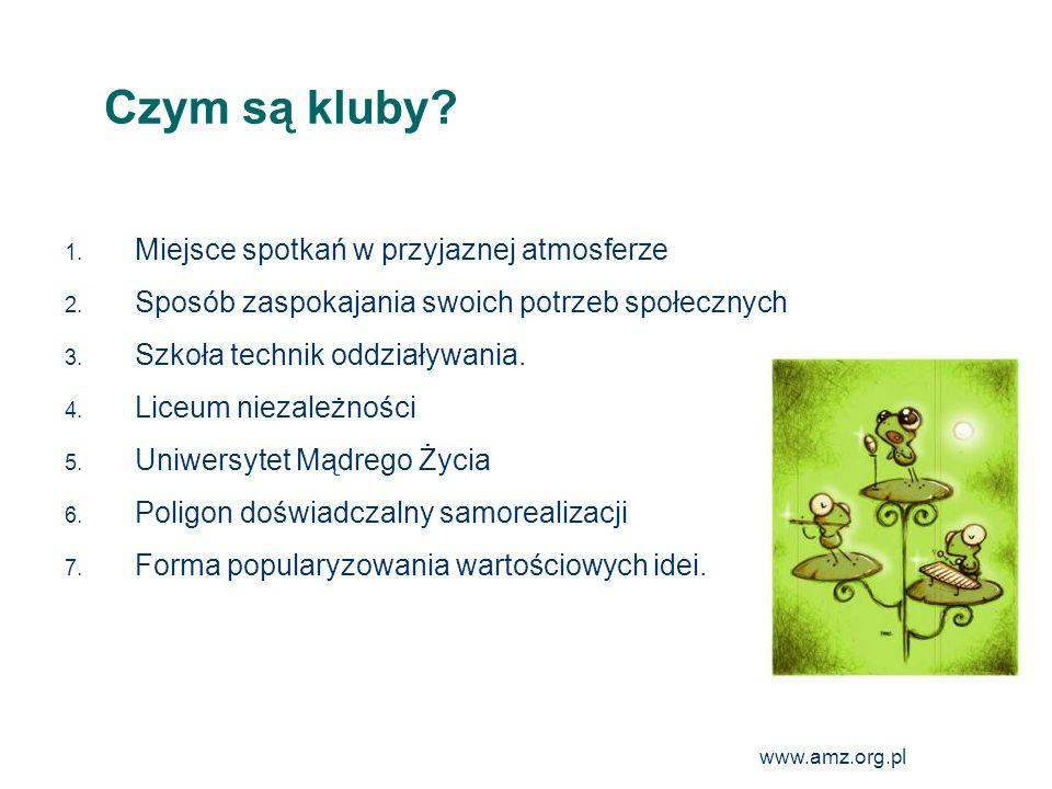 www.amz.org.pl 14 Organizacja i zasady pracy w Klubach Podstawową pracy klubu są regularne (najczęściej cotygodniowe) dwugodzinne spotkania, w których aktywnie uczestniczą członkowie klubu, pełniąc różne funkcje, przygotowując mowy, wygłaszając recenzje, uczestnicząc w zabawie, jaką jest łańcuszek mówców czy realizując własne pomysły.