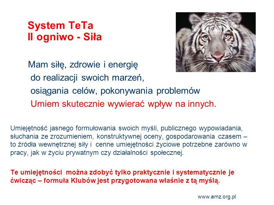 www.amz.org.pl 6 System TeTa II ogniwo - Siła Mam siłę, zdrowie i energię do realizacji swoich marzeń, osiągania celów, pokonywania problemów Umiem sk