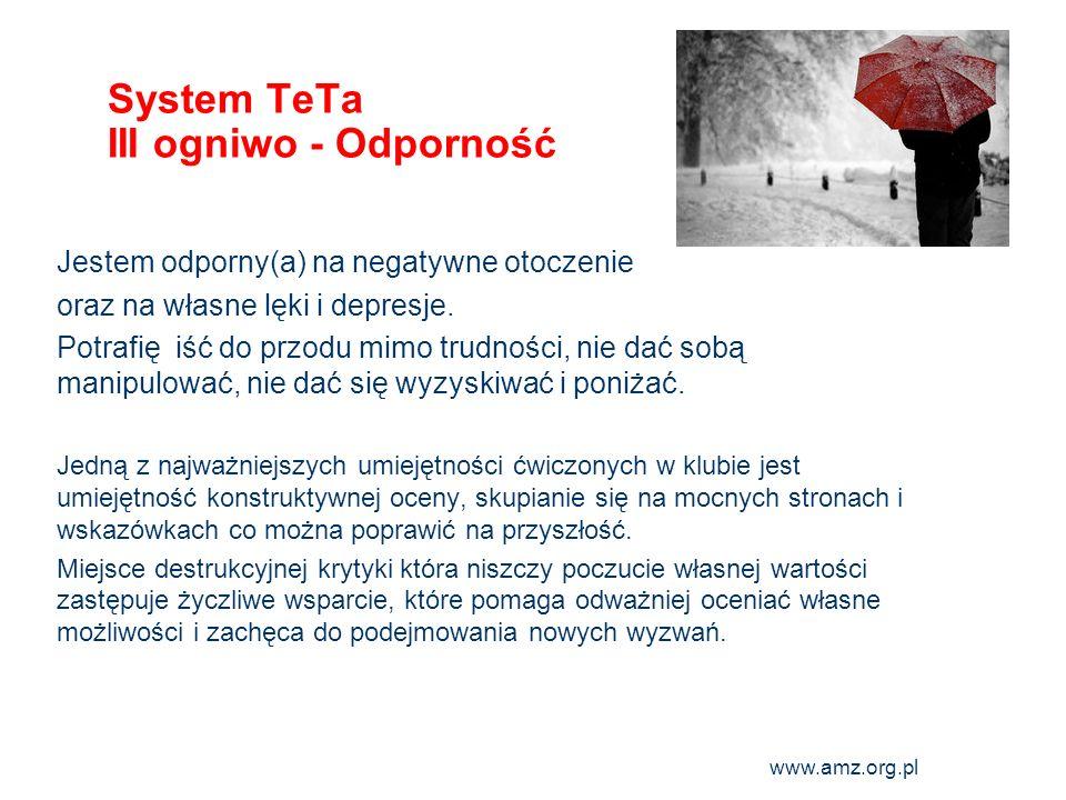 www.amz.org.pl 7 System TeTa III ogniwo - Odporność Jestem odporny(a) na negatywne otoczenie oraz na własne lęki i depresje. Potrafię iść do przodu mi