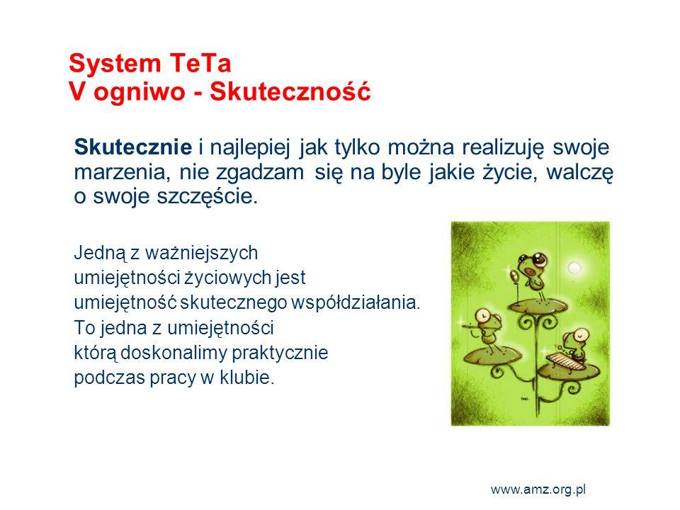 www.amz.org.pl 10 System TeTa VI ogniwo - Autorytet Wzoruję się na przykładach wartościowych ludzi i sam(a) żyję w taki sposób, aby być wzorem i autorytetem dla innych.