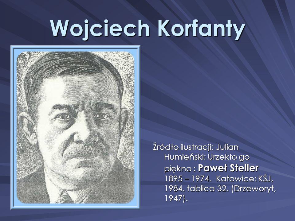 Wojciech Korfanty Źródło ilustracji: Julian Humieński: Urzekło go piękno : Paweł Steller 1895 – 1974. Katowice: KŚJ, 1984. tablica 32. (Drzeworyt, 194