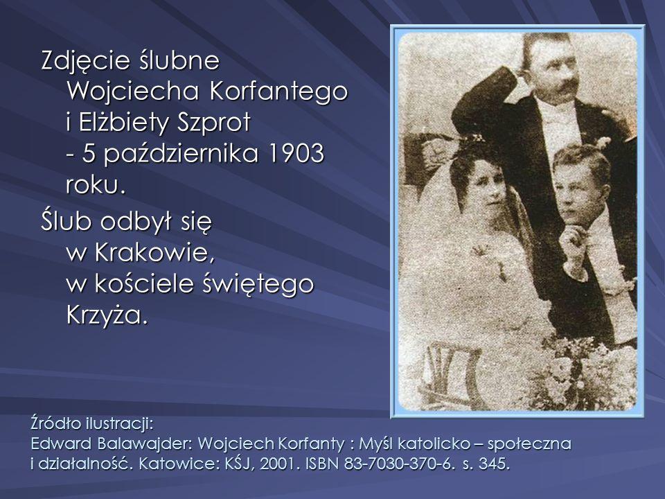Zdjęcie ślubne Wojciecha Korfantego i Elżbiety Szprot - 5 października 1903 roku. Ślub odbył się w Krakowie, w kościele świętego Krzyża. Źródło ilustr