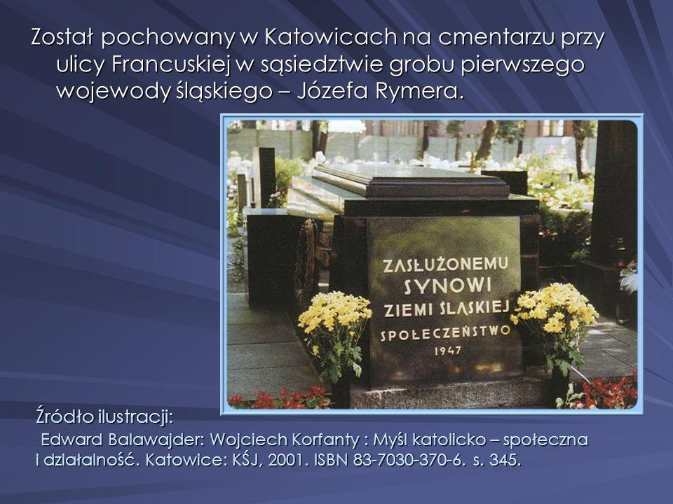 Został pochowany w Katowicach na cmentarzu przy ulicy Francuskiej w sąsiedztwie grobu pierwszego wojewody śląskiego – Józefa Rymera. Źródło ilustracji