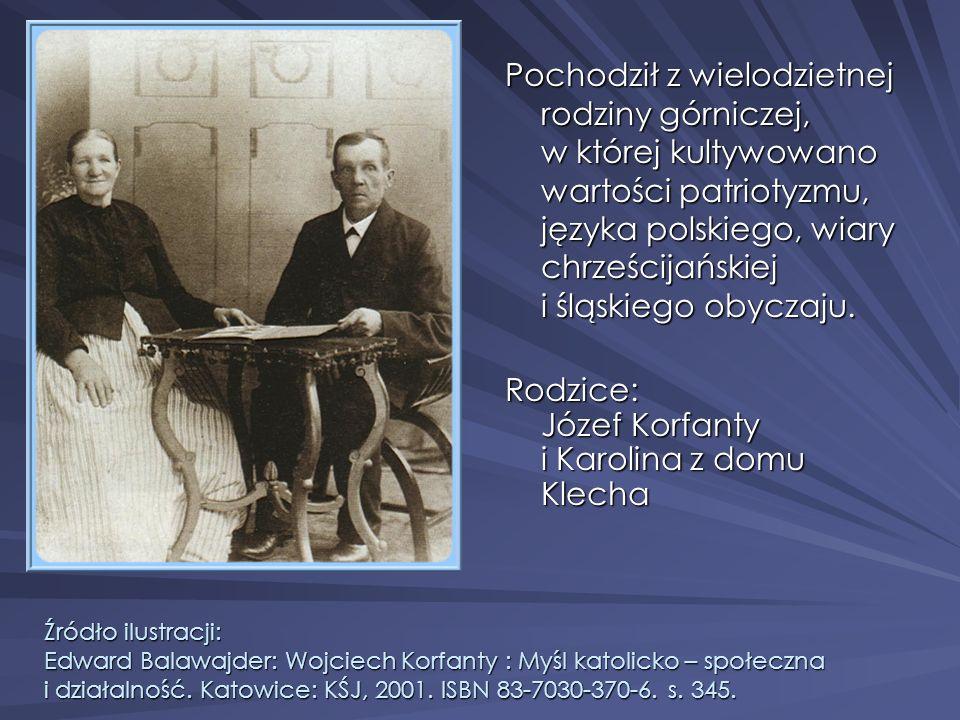 Źródło ilustracji: Edward Balawajder: Wojciech Korfanty : Myśl katolicko – społeczna i działalność. Katowice: KŚJ, 2001. ISBN 83-7030-370-6. s. 345. P