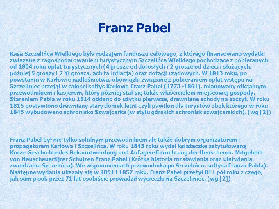 Franz Pabel Kasa Szczelińca Wielkiego była rodzajem funduszu celowego, z którego finansowano wydatki związane z zagospodarowaniem turystycznym Szczeli